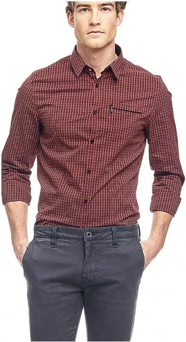 Guess LS YD Comfort SHIRT-M63H20W7J70 Camisa, Rojo (L598 Ruby Red Check), L para Hombre: Amazon.es: Ropa y accesorios