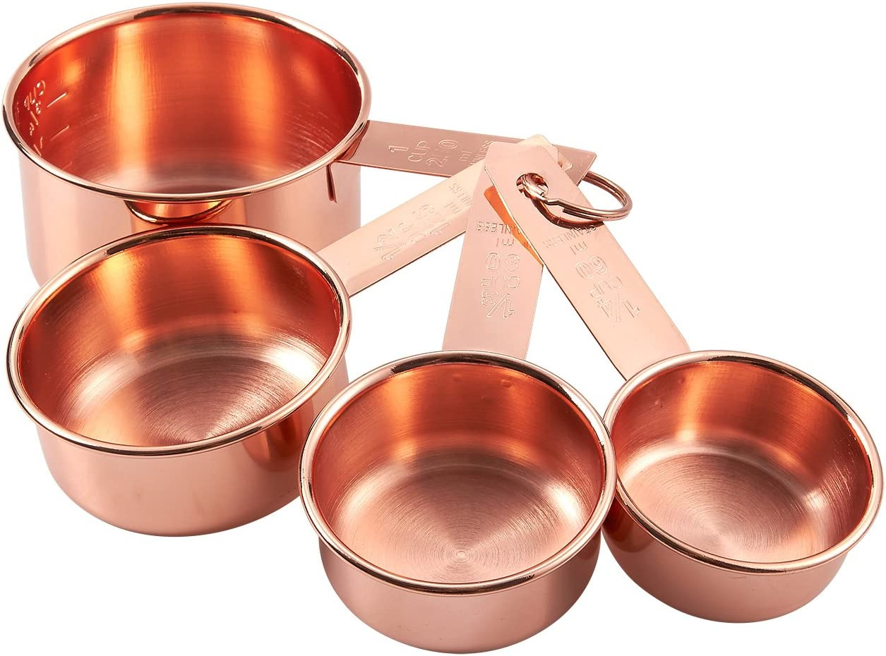 4-Piece Set of Stainless Steel Measuring Cup Set - Copper-Plated Metal Measuring Cups, Precision Measuring Cup Set for Baking, Cooking, Dry and Liquid Ingredients