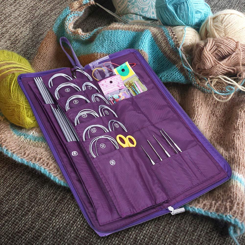 Yosoo 104pcs Knitting Kit Stainless Steel Straight Circular Knitting Needles Crochet Hook Needlework Weave Set Hand Tool Accessorieswith Pu Bag by Yosoo (Image #5)