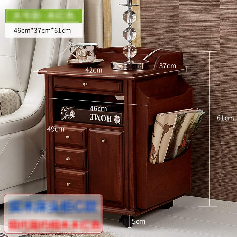 ZR- ベッドサイドテーブル、多機能ロッカー - ソリッドウッドシンプルなストレージラック - ロッカー (色 : Wood red) B07HD7YMB7 Wood red