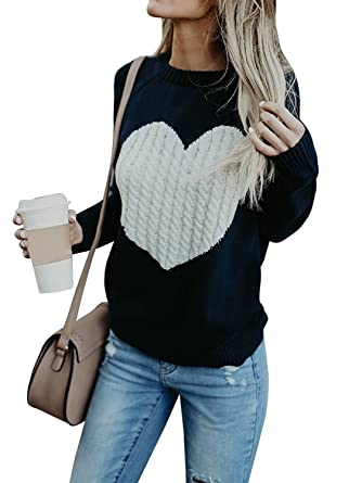 2f638cc5e756 FISACE Womens Cute Heart Cable Chunky Knit Pullover Sweater Long ...