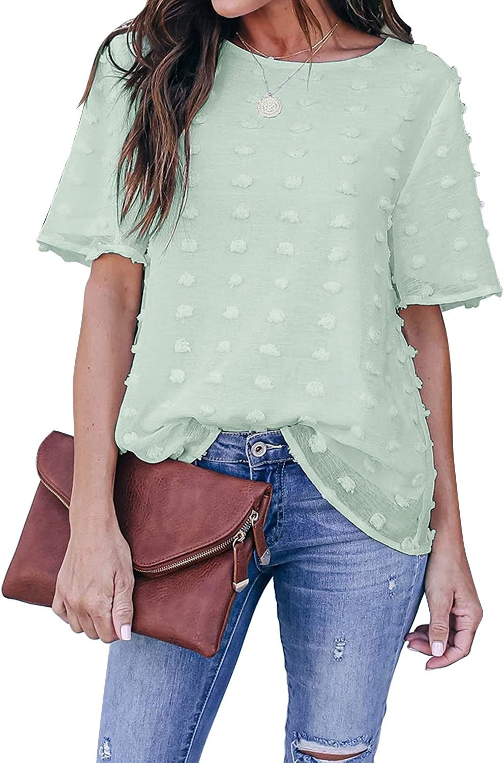 Blooming Jelly Womens Chiffon Blouse Summer Casual Round Neck Short Sleeve Pom Pom Shirts Tops