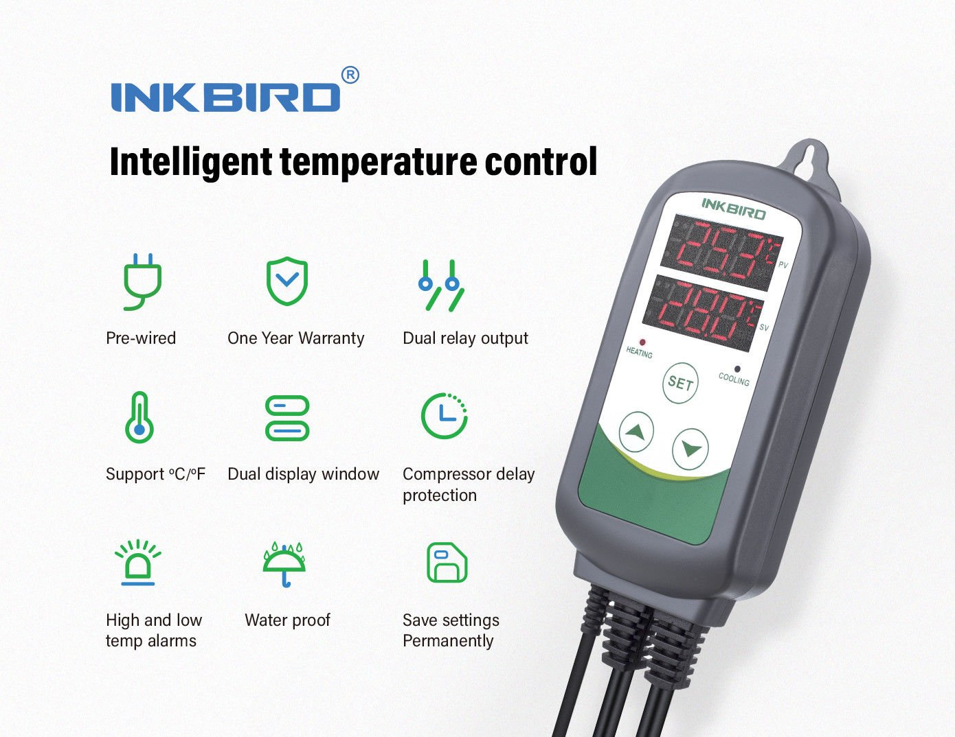 Inkbird Itc 308 Digital Temperature Controller Thermostat Regulator Heat Sensor Automatic Control Uk Socket Dual Relays 1 Heating Cooling 220v Plug Diy Tools