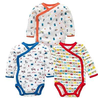 cdeda04c3f5f Amazon.com  3 Pcs Baby Romper Long Sleeves Cotton Newborn Baby Girl ...
