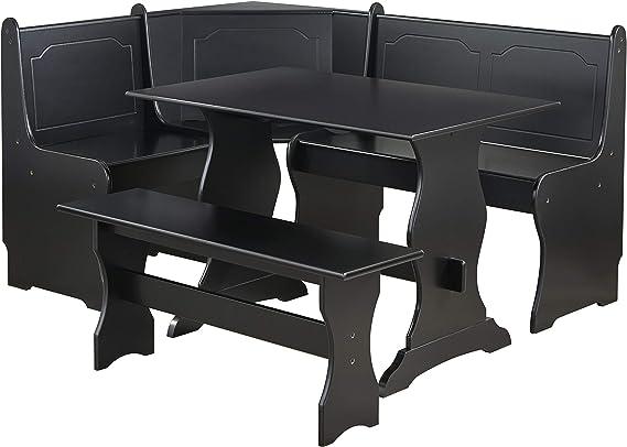 Target Marketing Systems Traditional Style 3 Piece Nook Corner Dining Set Seats 6 Black Furniture Decor Amazon Com