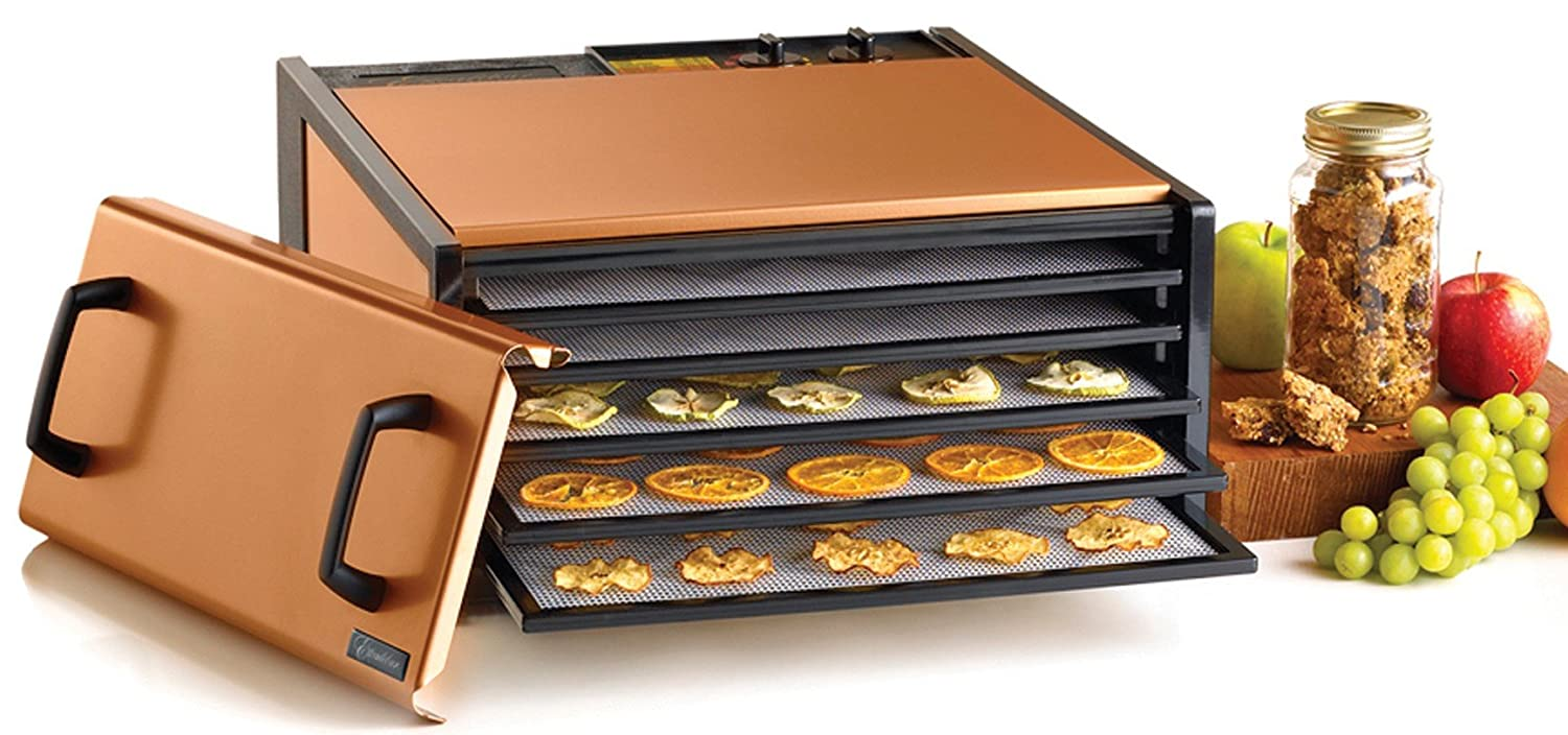 Excalibur D500CP 5-Tray Electric Food Dehydrator with Clear Door for Viewing Progress Features 26-Hour Timer Temperature Settings and Automatic Shut Off Made in USA, 5-Tray, Bronze