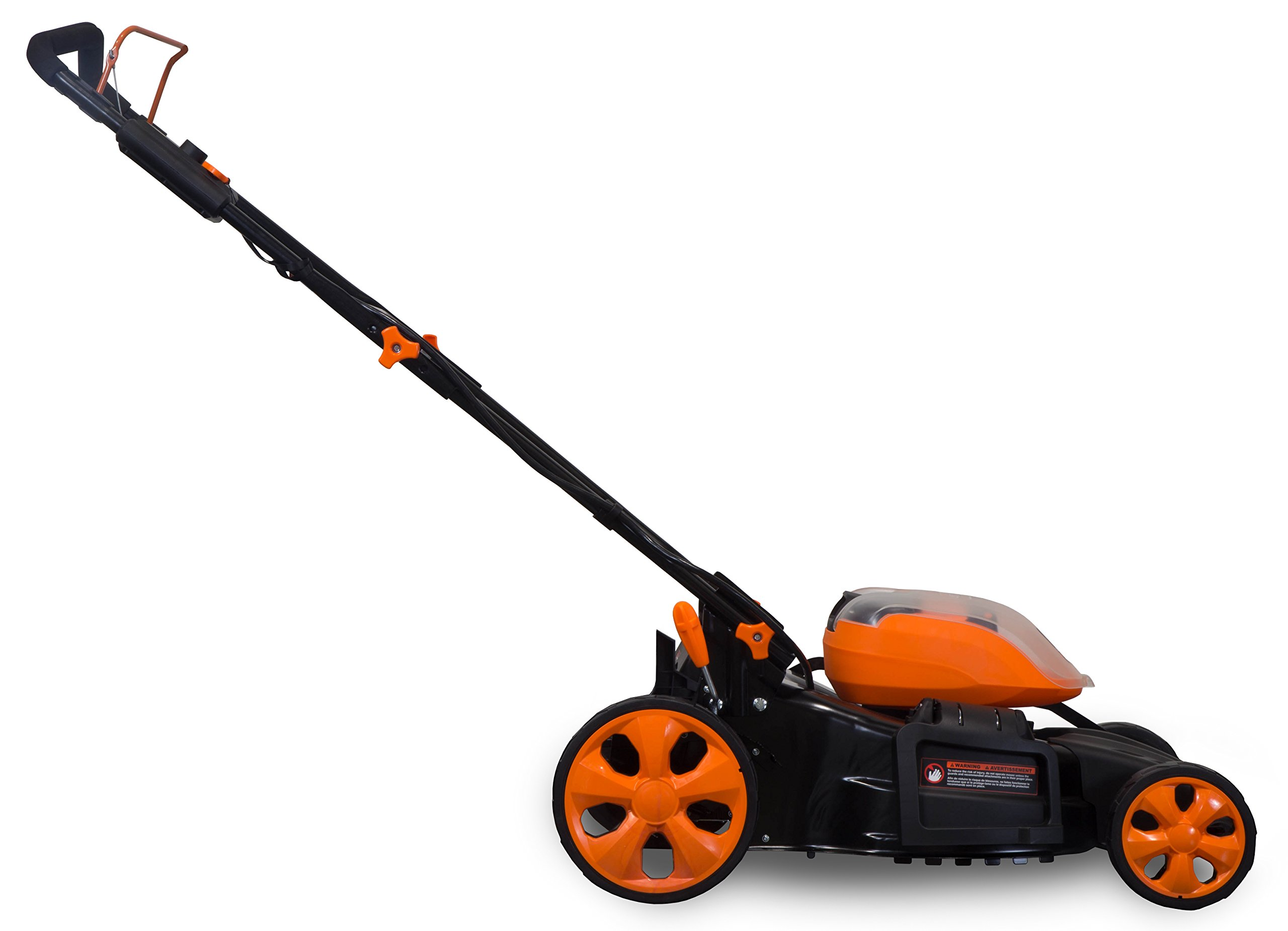 WEN 40439 40V Max Lithium Ion 19-Inch Cordless 3-in-1 Electric Lawn Mower with Two Batteries, 16-Gallon Bag and Charger 3 Includes one 4 amp-hour battery, one 2 amp-hour battery, one 16-gallon bag, one charger, and a two-year warranty Versatile 19-inch steel deck allows users to mulch, bag or use the side discharge door Adjust the cutting height between six different stops ranging from 1.5 to 4 inches