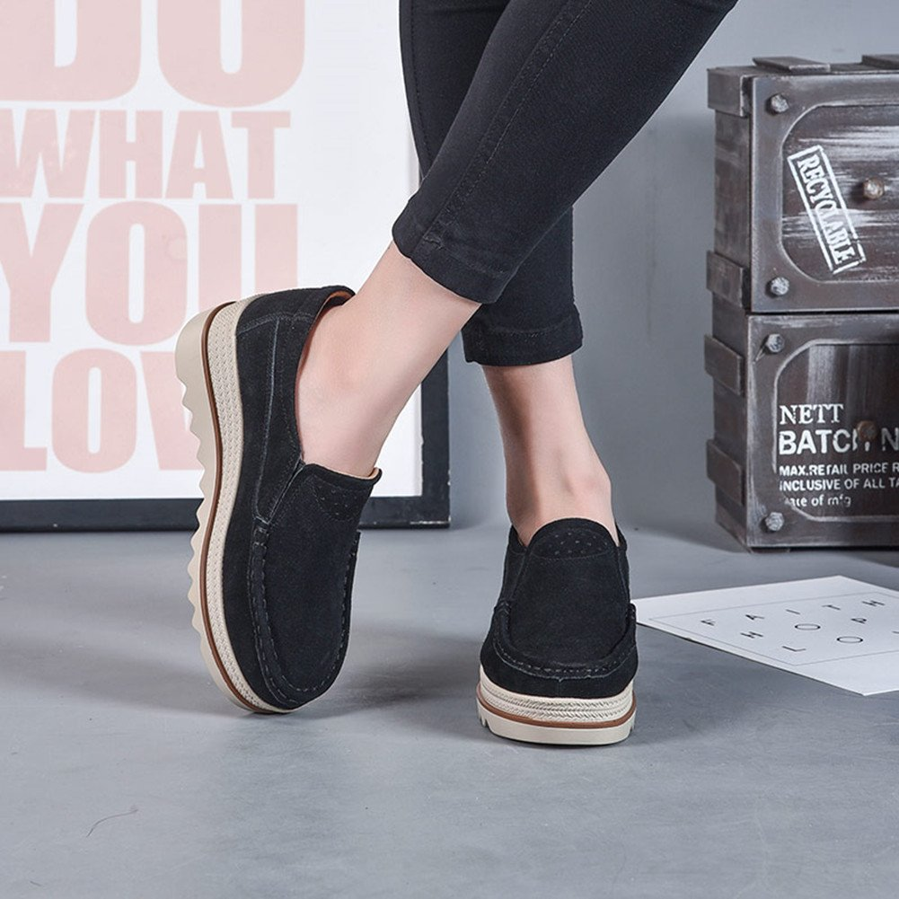 Mocassini Donna in Pelle Scamosciata Moda Comode Loafers Scarpe Guida da Guida Scarpe Ginnastica con Zeppa 5 cm Estivi Nero Blu Cachi 35-42 nero 99f0f5