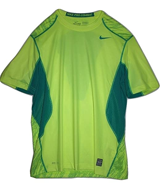 0caf4c7b Nike Pro Combat Fitted Digi Knurling Training Shirt (Large) Bright Yellow