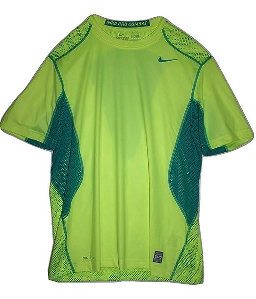 c03c5815d Nike Pro Combat Fitted Digi Knurling Training Shirt (Large) Bright Yellow