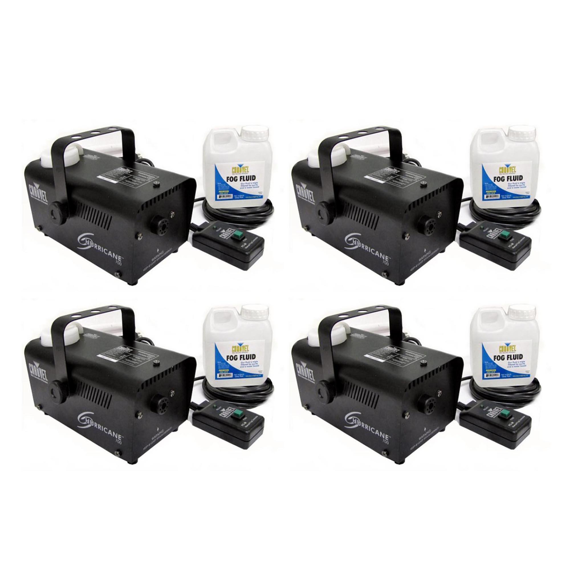 (4) CHAUVET HURRICANE H700 Fog/Smoke Pro Machines w/ Fog Fluid & Remote | H-700