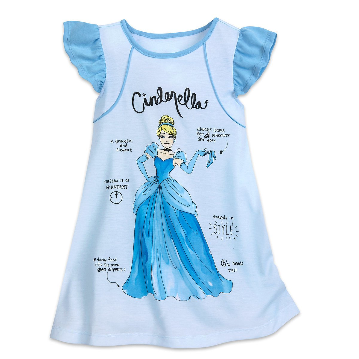 Disney Cinderella Nightshirt for Girls Size 4 Blue