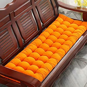 erddcbb Indoor Outdoor Swing Bench Cushion,Quilted Rocking Chair Cushions Stuffed Breathable Overstuffed Furniture Long Seat Pads with Ties Orange 48x120cm(19x47In)