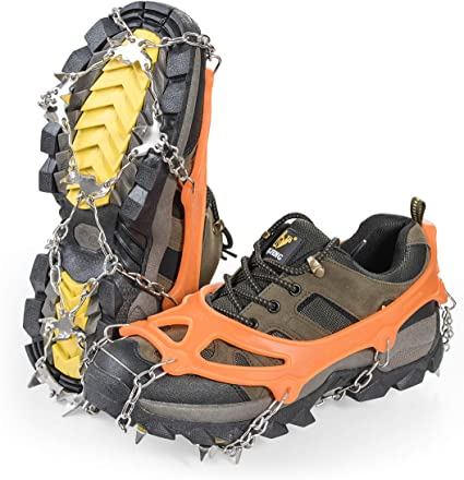 5 STUD UNIVERSAL ICE NO SLIP SNOW SHOE SPIKES GRIPS CLEATS QUALITY CRAMPONS CA
