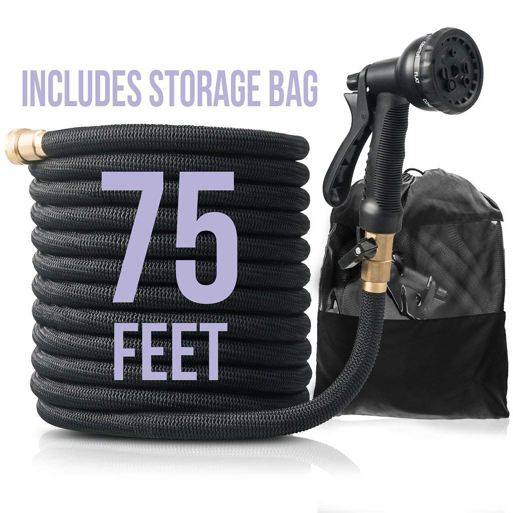 Flexible & Expandable Garden Hose with Nozzle: Lightweight Heavy Duty No Kink Expanding Outdoor Water Hoses with Sprayer - Expands from 25 to 75 ft - 8 Function Spray Nozzles & Brass Fittings - Black by TruHose