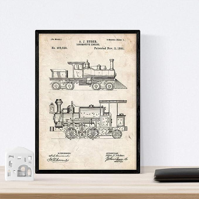 Nacnic Poster con Patente de Locomotora. Lámina con diseño de ...