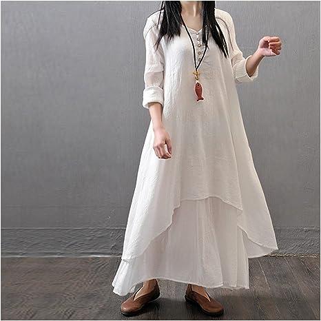 YUANLINGWEI Algodón Vestido Blanco Plus Size Dos Piezas Falsas O-Cuello Maxi Vestidos Vestido Suelto Casual Office Primavera Verano Mujer,Blanco,L: Amazon.es: Deportes y aire libre