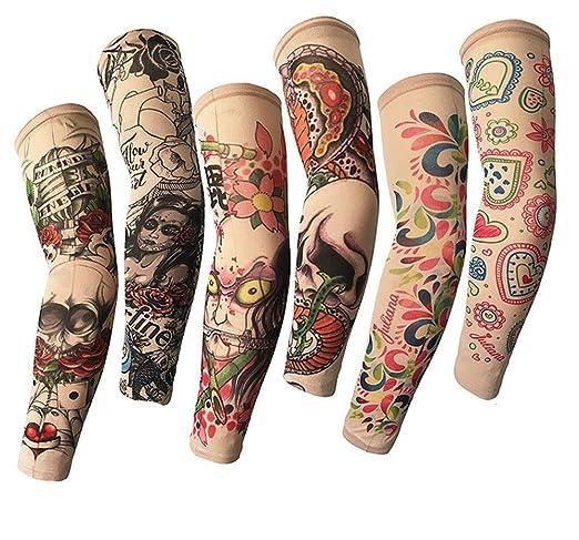 Mzqaxq Tattoo Sleeve 6 Unids/Set Al Aire Libre Ciclismo 3D Tatuaje ...