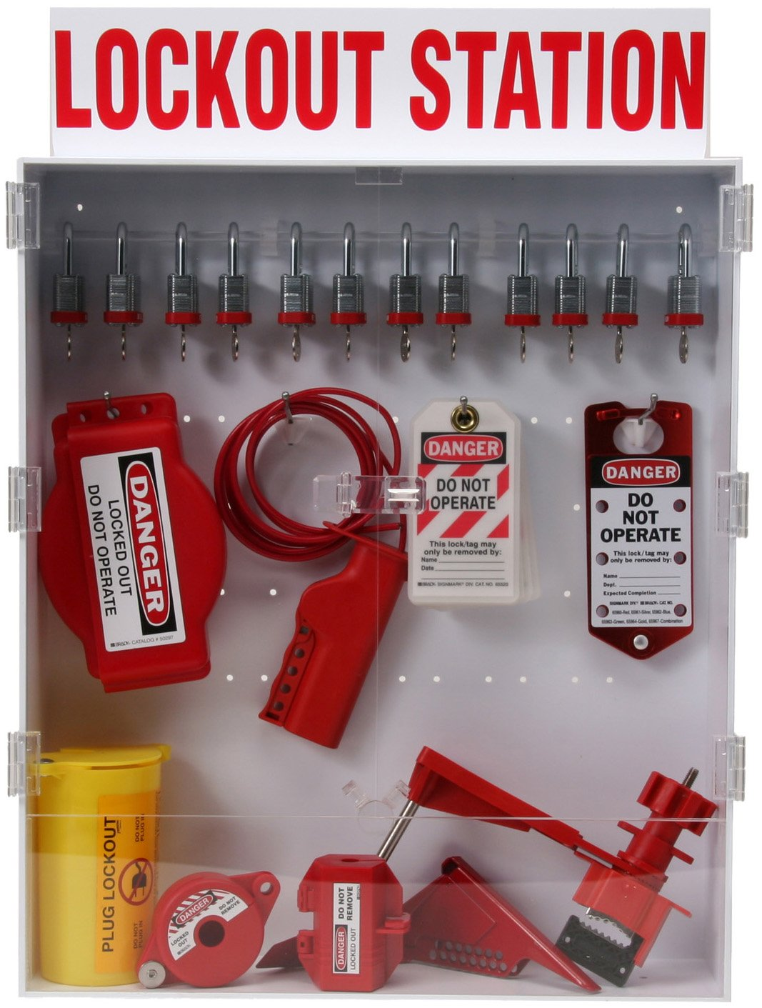 Tags Brady Lockout Station with Padlocks Includes 12 Safety Padlocks 99703 and Devices Enclosed Station