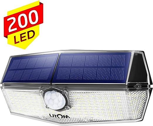Luz Solar Exterior 200 Led, Foco Solar con Sensor de Movimiento ...
