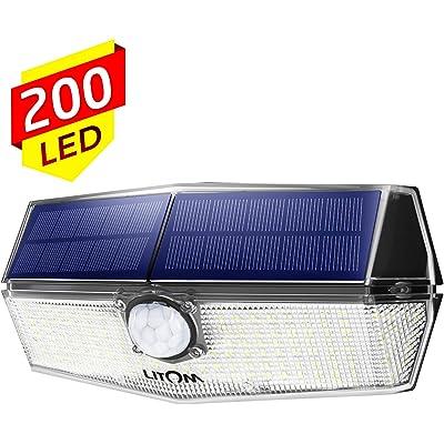 Luz Solar Exterior 200 Led, Foco Solar con Sensor de Movimiento Iluminación, 270° Gran Angular, IPX7 Impermeable, Más Brillante y Durable, Fácil de Instalar