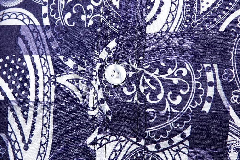 SUNMAIO Shirt Comfortable Short-Sleeved Travel Personality Print Shirt Shorts Men