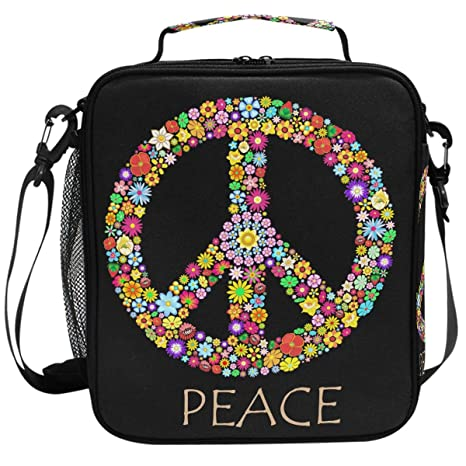 98d443ead375 Amazon.com: Peace Love Rainbow Sign Flowers Lunch Box Insulated ...