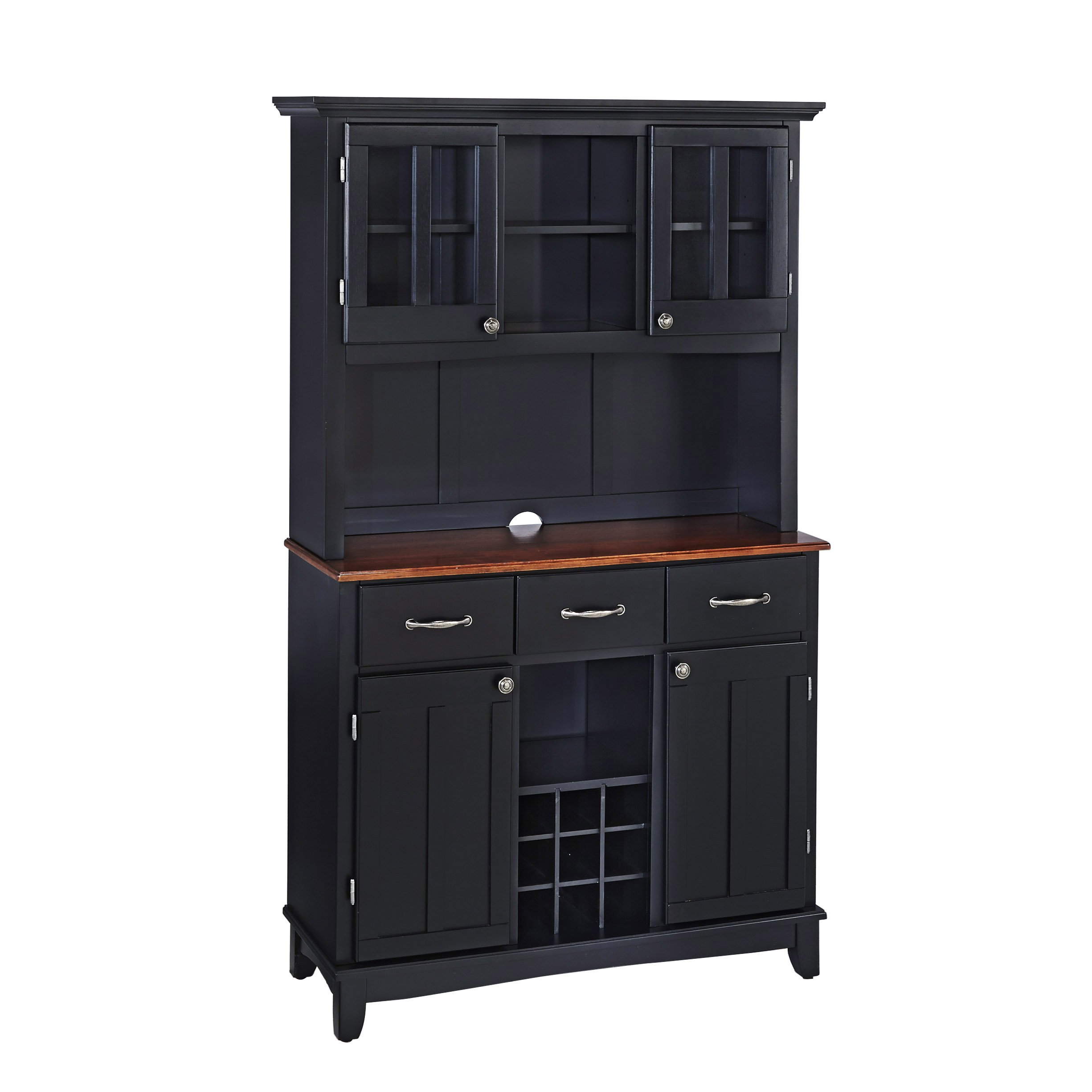 Buffet of Buffets Medium Cherry with Wood Top with Hutch by Home Styles