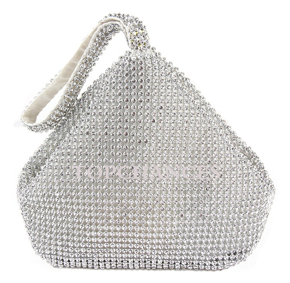 TOPCHANCES Triangle Full Rhinestones Women's Evening Clutch Bag Party Prom Wedding Purse (Upgrade Silver Bag)