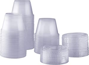 [100 Sets - 4 oz.] Plastic Disposable Portion Cups With Lids, Souffle Cups, Jello Cups