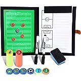 BizoeRade cartella tattica per allenatore di calcio,calcio tattica fogli con penne, gomma, magneti,Spazzola