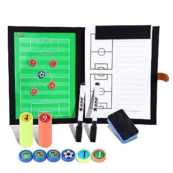 BizoeRade Carpeta Táctica,Professional Fútbol Coach Board – Carpeta con lápices, goma de borrar, imanes