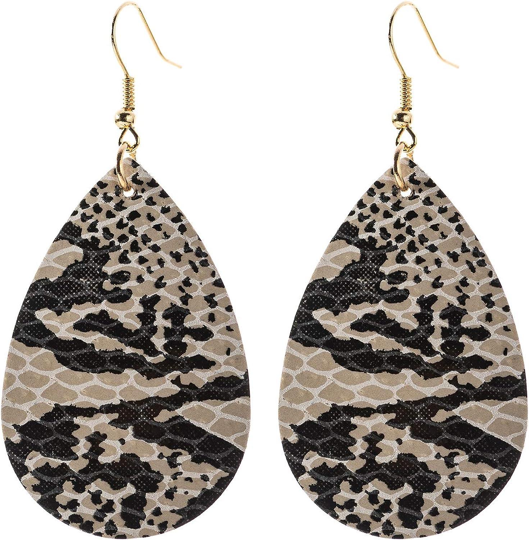 Leather Earrings Teardrop Leather Earrings Snakeskin Leather Earrings Snakeskin Leather