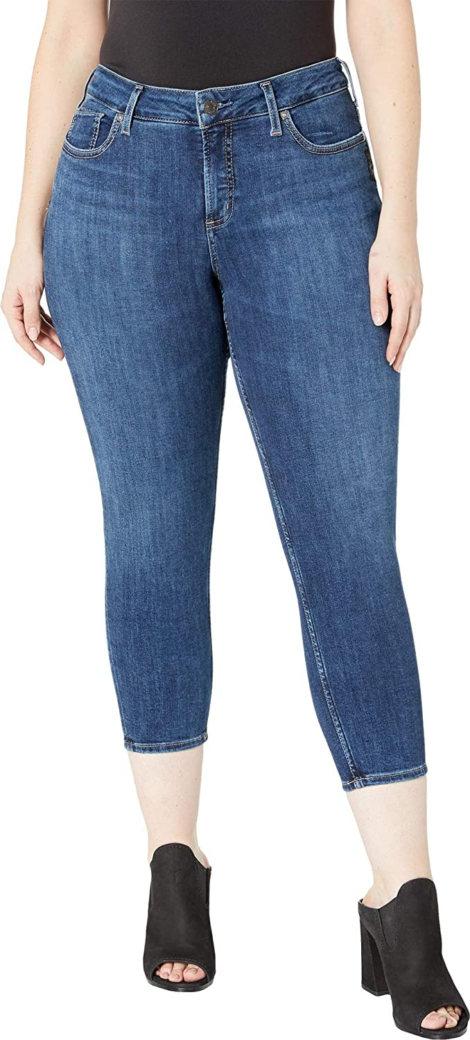 2953cadd Amazon.com: Silver Jeans Co. Women's Plus Size Suki Mid-Rise Curvy Skinny  Crop Jeans: Clothing