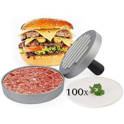 Belmalia Prensa Burger ➕ 100 Hojas de Papel de Horno ➕ para perfectos Burgers, Hamburguesas, Cheeseburgers, Frikandellen, Albóndigas, Sartén, ...