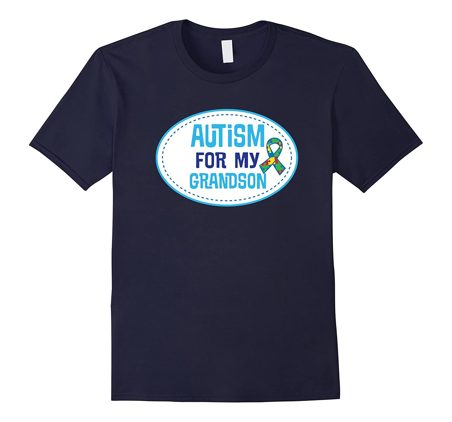 Autism For My Grandson Puzzle Ribbon Awareness T-shirt-TD