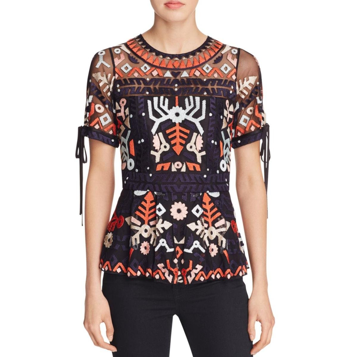 Parker Womens Shannon Mesh Embroidered Blouse Multi XS