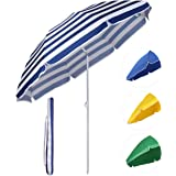 Sekey® Sombrilla Ø 160 cm parasol para terraza jardín playa balcón piscina patio , color Rayas blancas azules , protector solar UV20+