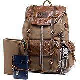 Way One Waxed Canvas Leather Rucksack Backpack Vintage Waterproof Bookbag for Men Outdoor Hiking Travel Bag