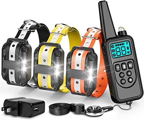 F-color Dog Training Collar, with Remote 865 Yards Reflective Strap Shock Collar for Dogs, Small Medium Large Dogs Breed, with Light Beep Vibration Shock, Waterproof Dog Shock Collar for 3 Dogs