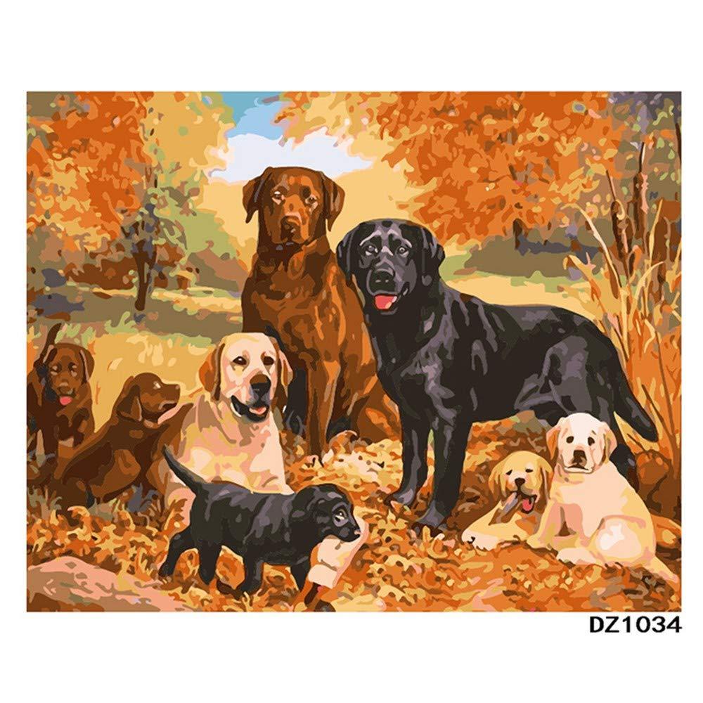 Números de pintura KAWAII Adultos Niños 16 20 pulgadas Lienzo de lino-DIY Kits de números de pintura digital en lienzo Sin marco Grupo de perros