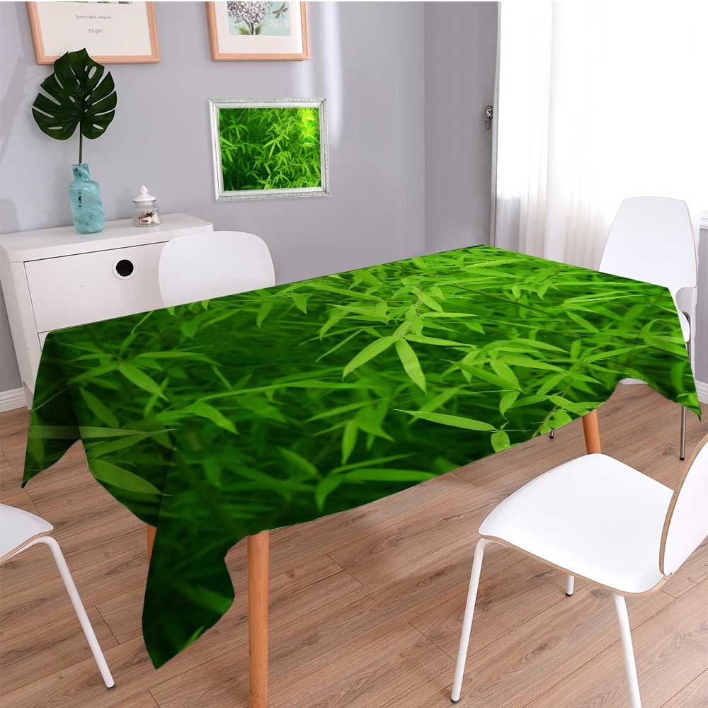 SCOCICI1588 Linen Square Tablecloth The Water Drops on The Bamboo Leaves Washable Table Cloth Dinner Kitchen Home Decor