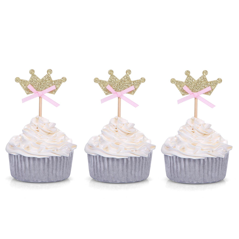 Mybbshower Glitter Pink Gold Tiara Cupcake Toppers For Girls