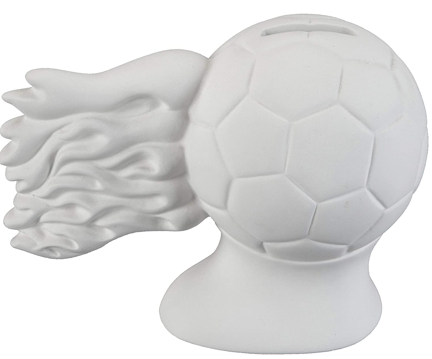 Unfinished Ceramic Bisque Creative Hobbies Hot Shot Soccer Ball Bank with How to Paint Your Own Pottery Booklet Case of 6