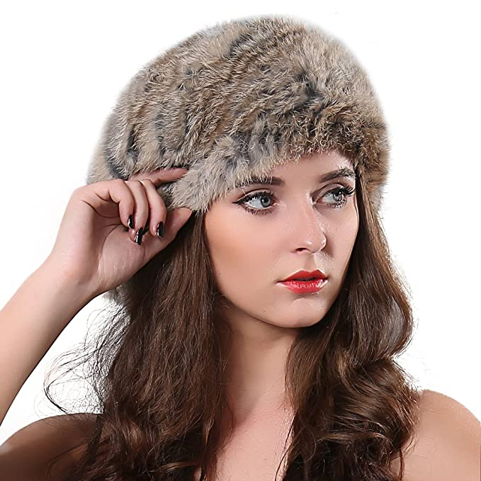 8c2a8c30a0f FURTALK Women Winter Fur Beret Hat - Rex Rabbit Fur Knitted Warm Cap  Original (Goma