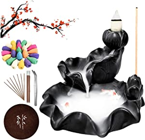 Backflow Incense Burner,Lotus Fish Waterfall Incense Burner,Incense Fountain Smoke Waterfall with 60 Cones and 30 Sticks for Home Decor Yoga Aromatherapy Ornament