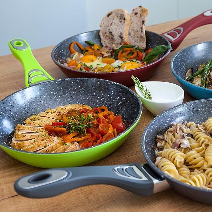 Cecotec Sartén de 28cm Tasty Cook Series 5 mm, Revestimiento de Piedra, aptas para Todas Las cocinas. Sartenes de Calidad para Uso doméstico.