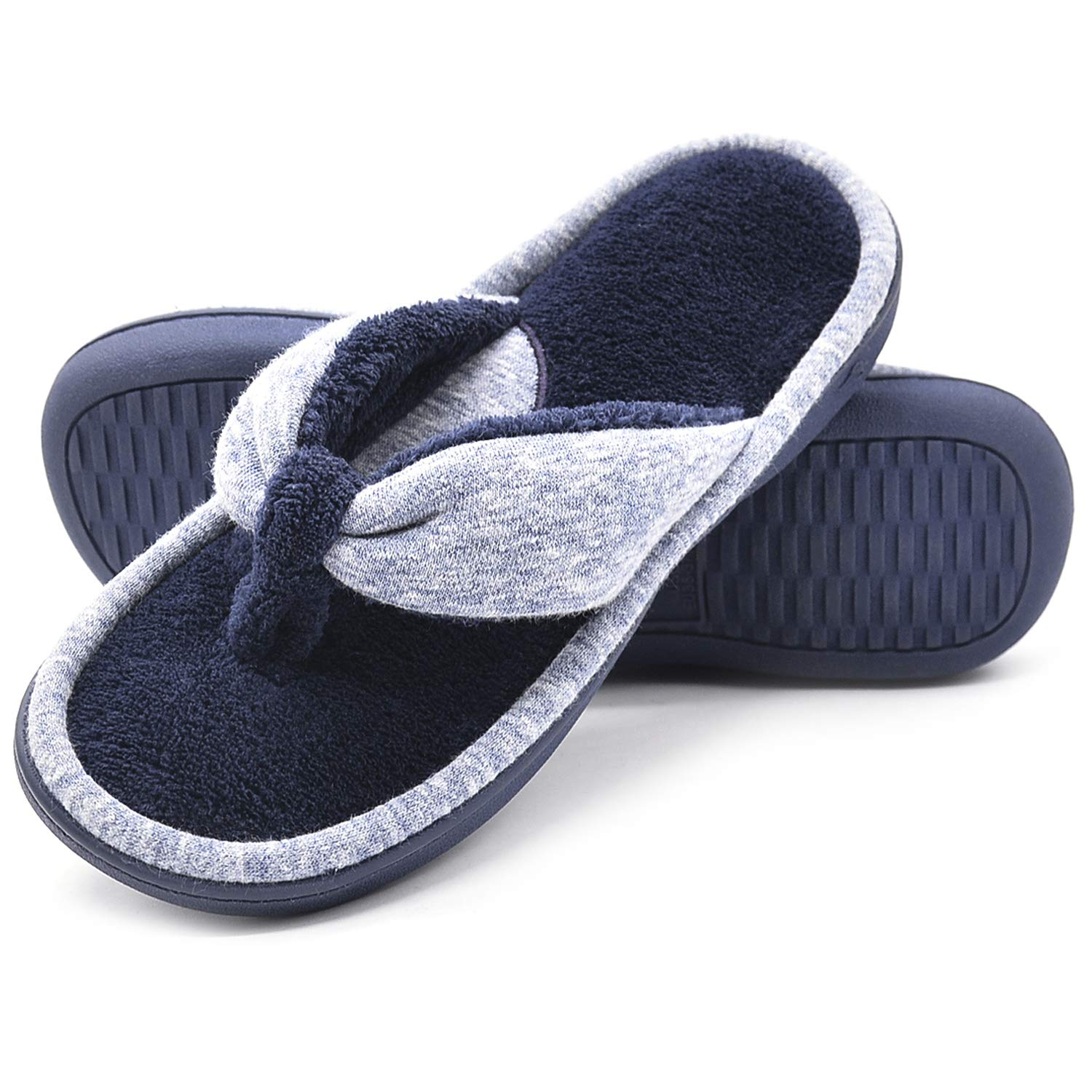 Wishcotton Women's Adjustable Memory Foam Spa Thong House Shoes Fluffy Flip Flop Slippers (L, Navy)