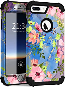 Hocase iPhone 8 Plus Case, iPhone 7 Plus Case, Heavy Duty Shockproof Protection Hard Plastic+Silicone Rubber Hybrid Protective Case for iPhone 7 Plus/iPhone 8 Plus - Pink Flowers/Golden Glitters