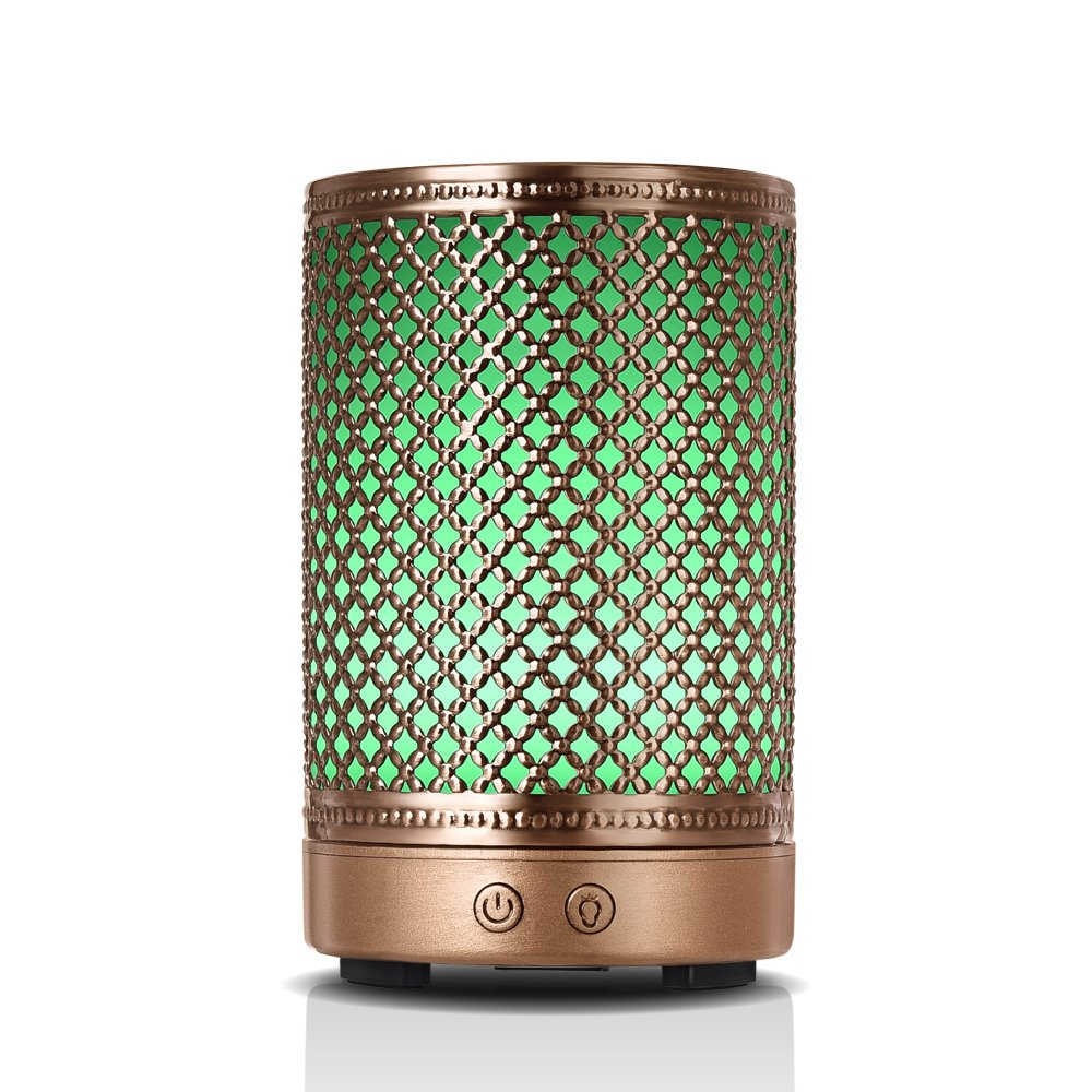 Aromatherapy Essential Oil Diffuser Humidifier, Vintage Metal Ultrasonic Cool Mist Humidifier for Essential Oils from Ominihome, Waterless Auto Shut-off Aroma Diffuser Humidifier (mesh)